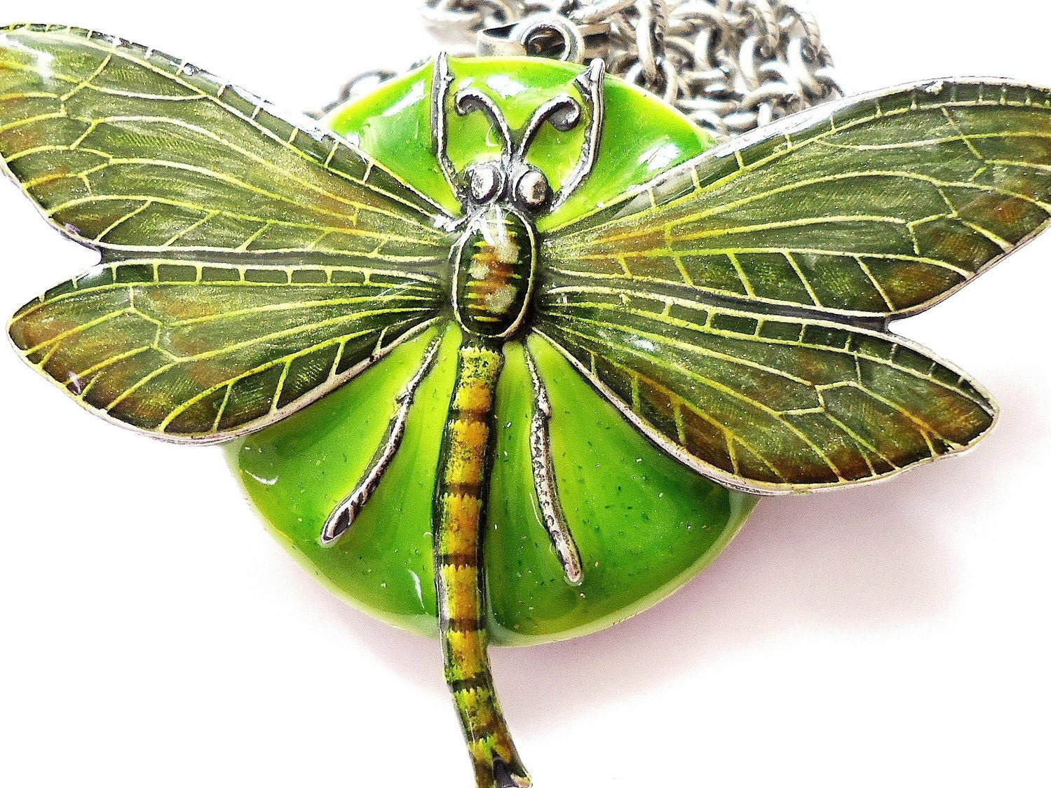 Olivine, Moss Green Dragonfly Locket Necklace made by RotsinaCreations