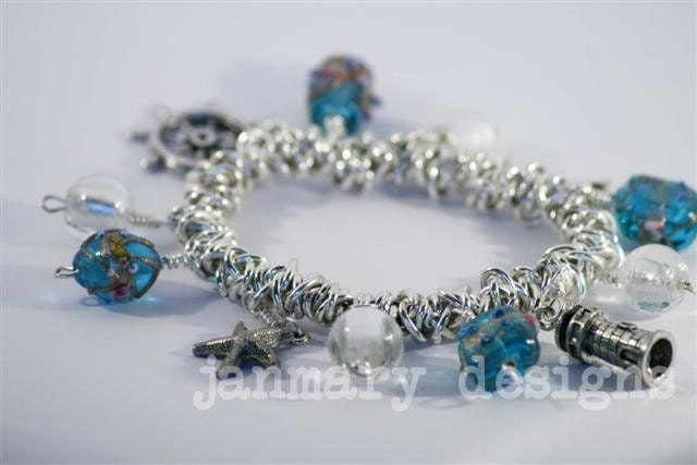 Pacific Blues Elasticated Bungee Charm Bracelet   ---FREE SHIPPING IN JULY---