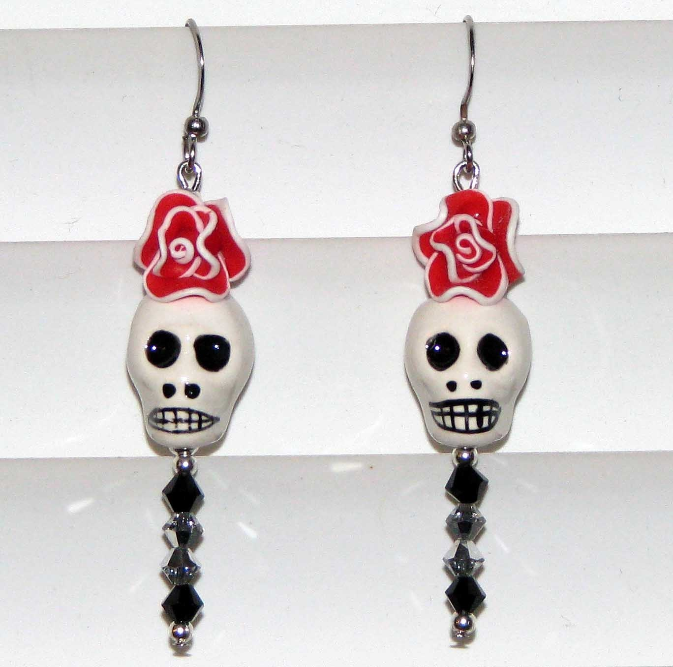 DAY OF THE DEAD Catrina SKULL and Rose EARRINGS Red