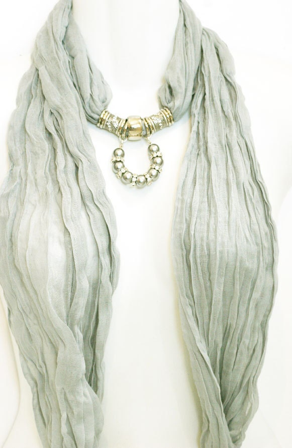 scarf jewelry dove grey silver by ravensnestscarfjewel