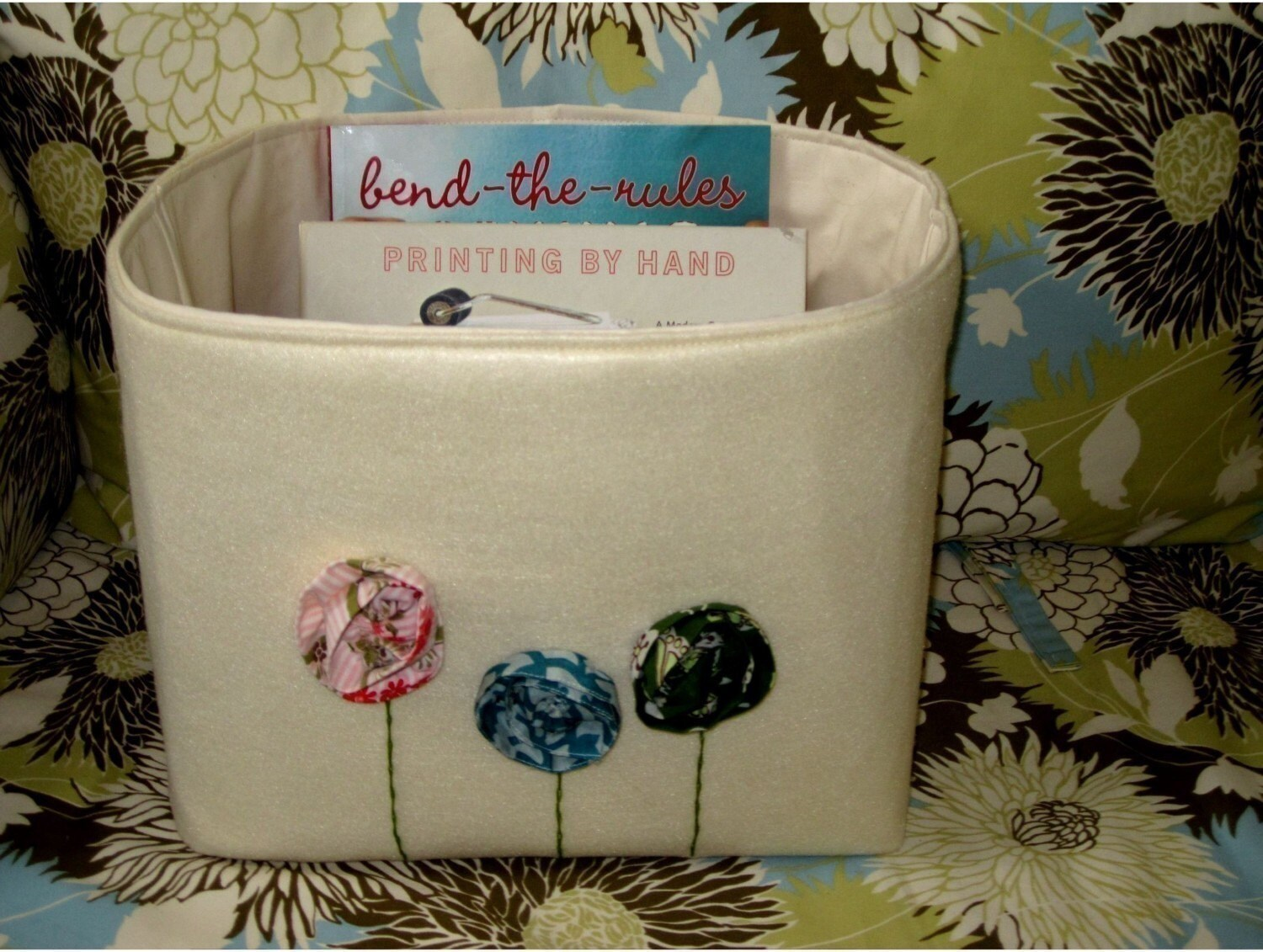 Bohemian Poppies Fabric Bin In Cream  Recycled Felt Fabric  With Flowers Grande