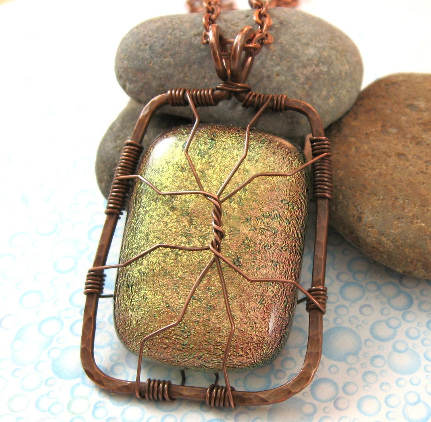 Copper Caged Dichroic Necklace