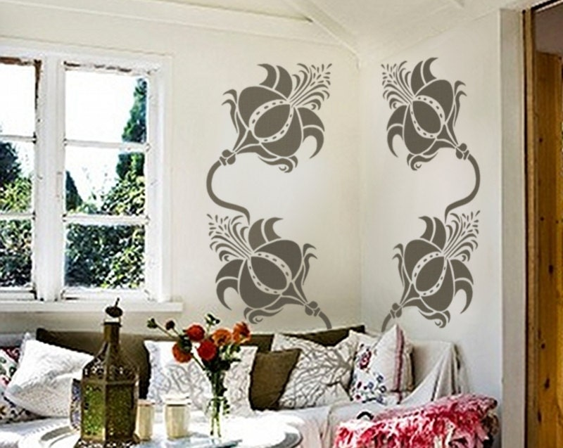 Large Wall STENCIL - Le Coq Chantant - Floral Allover Wall Pattern - Reusable DIY Home Decor