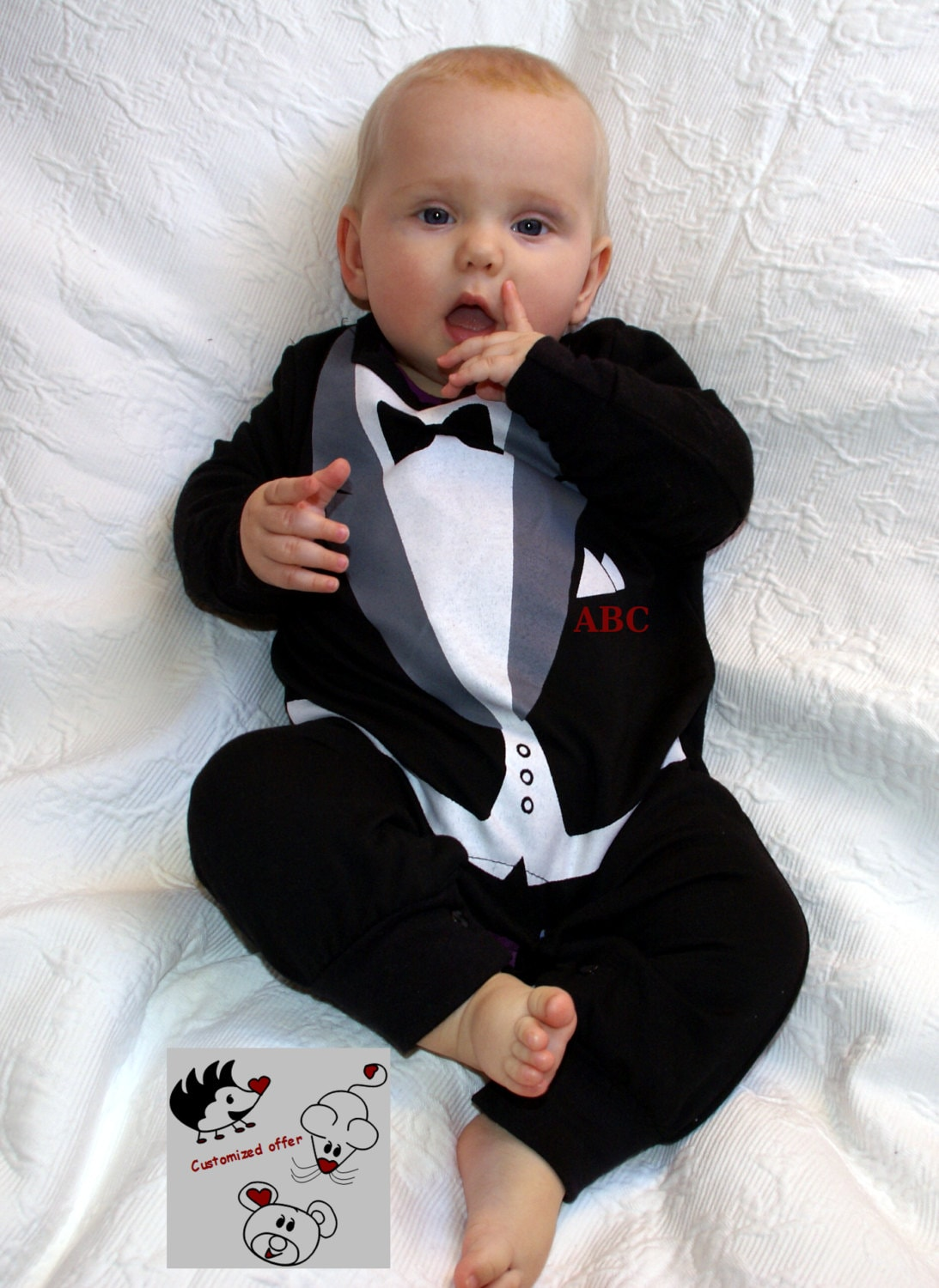 tuxedo onesie personalized with baby initials by schnuffelinis
