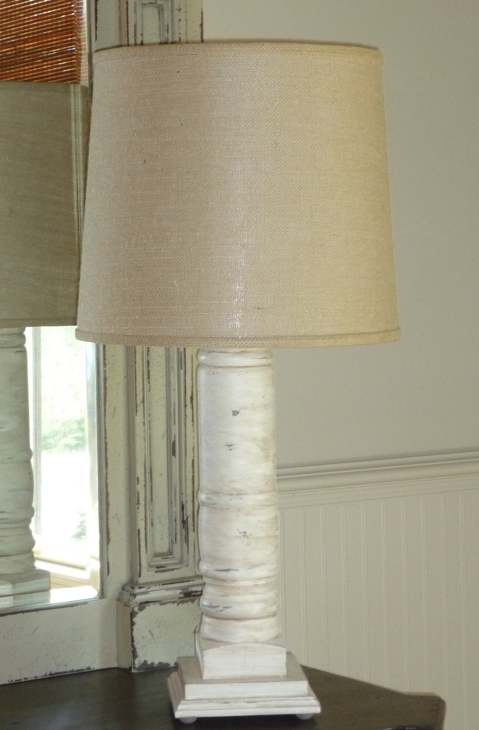 White Washed Grand Porch Column Table Lamp