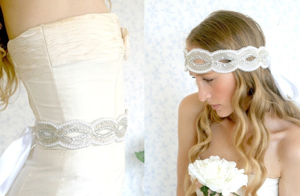 Buy 1 Get 1 SALE -Crystals pearls and glass beads silvery sash or headband