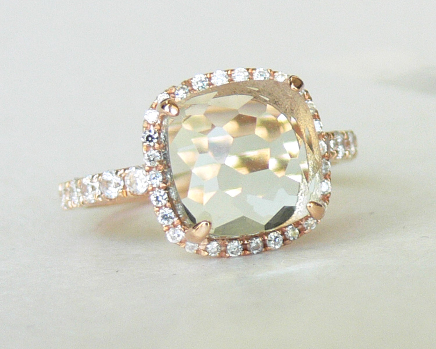 Ready to Ship - Green Amethyst Pristinely Cushion Cut 18K Rose Gold Vermeil Ring - ShowcaseJewelry