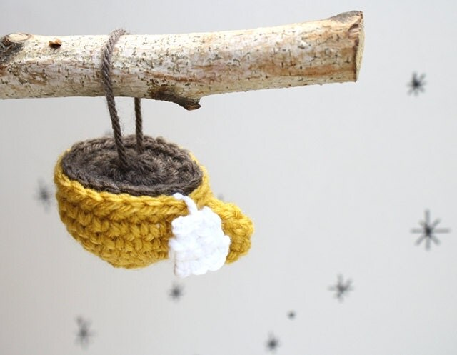 Crochet Teacup Ornament Yellow - Holiday Decoration Christmas Ornament by SheepishKnitCrochet on Etsy - SheepishKnitCrochet