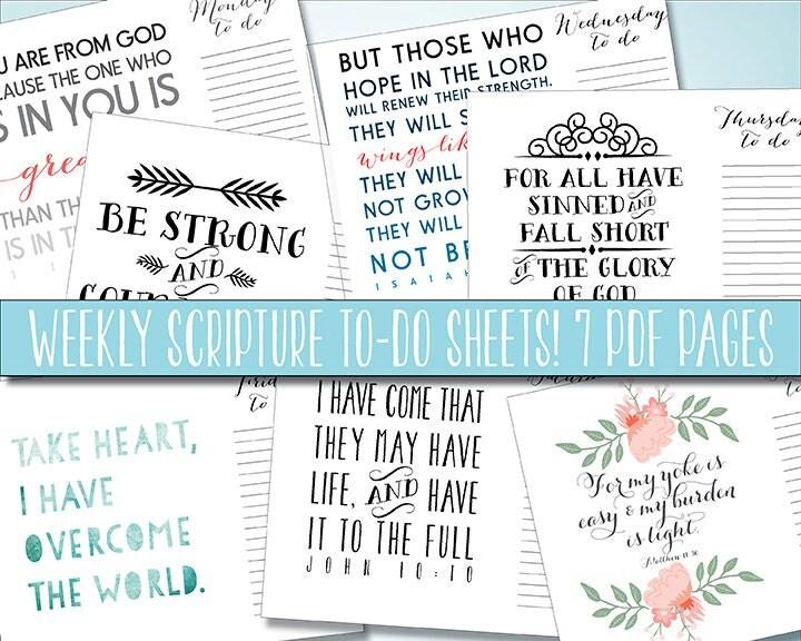 Calendar Typography Zoom : Scripture to do list daily printable by printablewisdom