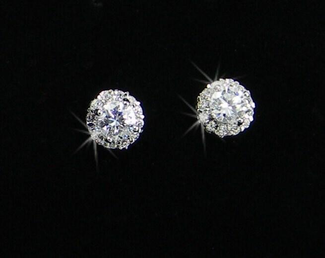 Crystal Stud Earrings Bridal Earrings Wedding Bridesmaids, Small and Dainty, Crystal Stud Earrings
