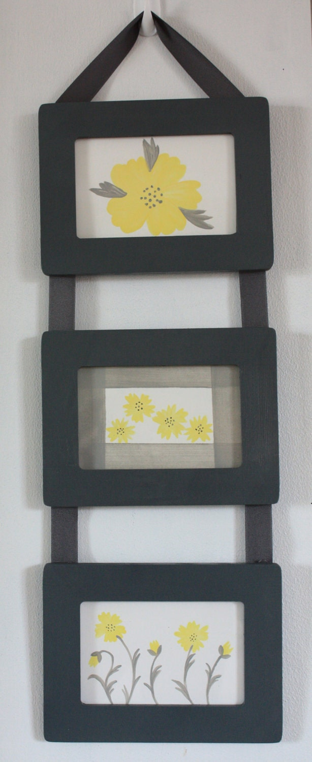 Hanging Wall Decor With Ribbon : Items similar to ribbon hanging picture frames set of