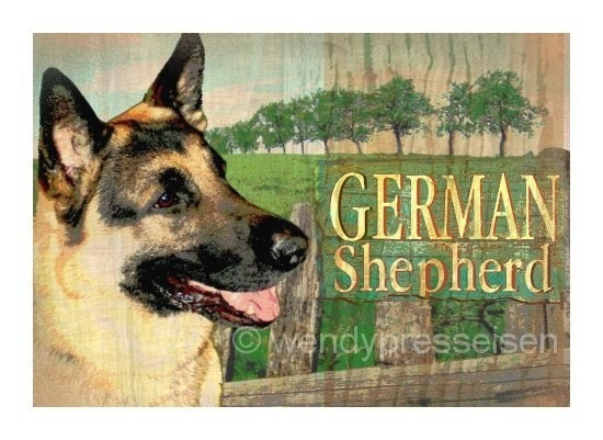 GERMAN SHEPHERD Signed Art Print POLICE DOG Modern Grunge Art ILLUSTRATION Pooch Pup CUTE DOGS Shepherd Landscape