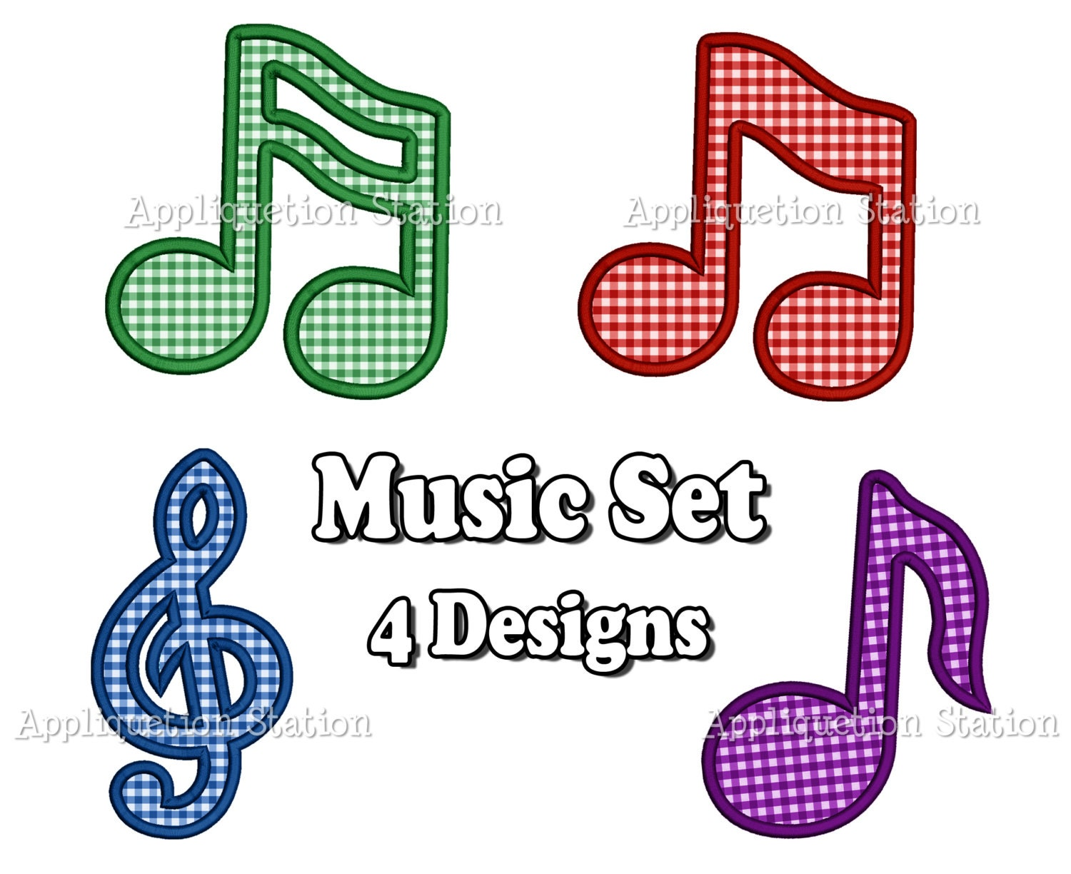 Music note treble cleff applique machine by