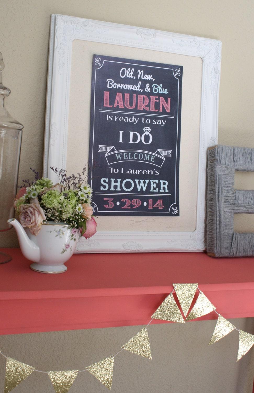 wedding bridal shower welcome sign modern by lanelovedesign