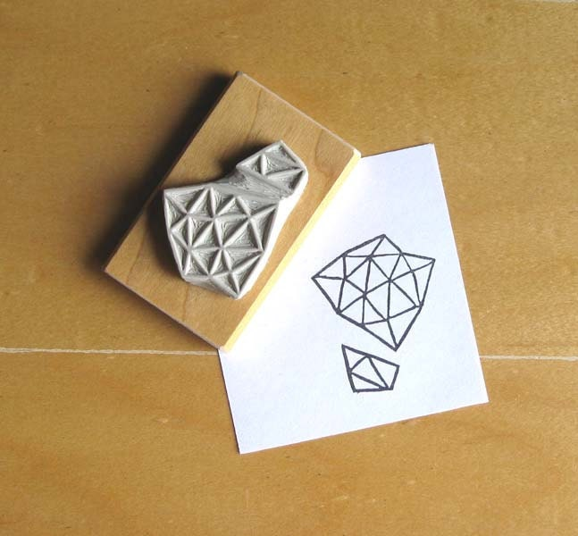 Crystal configuration hand carved stamp by extase on etsy