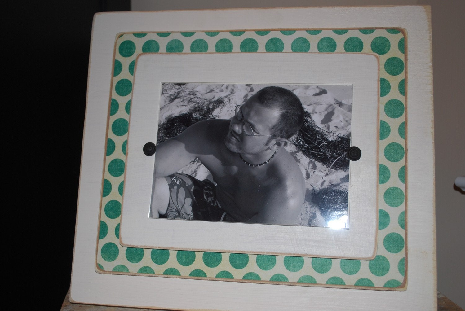 SALE  cream distressed, blue polka dot 5 x 7 frame