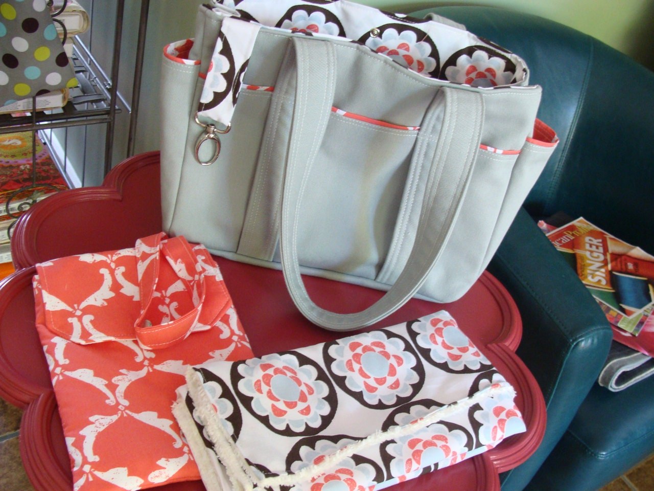 Medium Size Custom Gray Grey Twill Diaper Bag Set with Clutch and Changing Pad