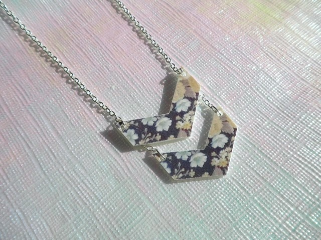 Double Chevron Necklace - Dark Floral Pattern