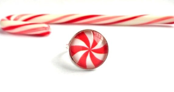 Peppermint ring - candy cane stripe, red white swirl - Christmas holiday stocking stuffer, for her, gift under 25 - adjustable - KatieBelleDesign
