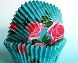JUMBO Liv Blue with Pink Roses Designer Cupcake LIners (20)