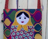 OOAK Large Tote with Matryoshka Doll Applique
