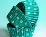 MINI Green and White Polka Dot Cupcake Liners (45)