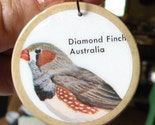 Bird Lover PENDANT - AUSTRAILIAN DIAMOND FINCH - Upcycled eco poker chip pendant also called DIAMOND FIRETAIL FINCH and DIAMOND SPARROW