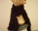 Crochet Black Fuzzy Scarf