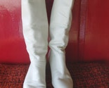White Wedding  vINTAGE Winter White Leather Slouch Boots Sz 8.5 PiRAte BoOtS TaLL BoOtS