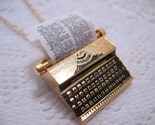 Typewriter Necklace 18K Gold Plated Brass by CuteAbility on Etsy from etsy.com