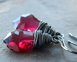 SALE - Swarovski  Ruby Crystal Baroque Black Oxidized Sterling Silver Earrings