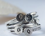 Monogram Initial Sterling Silver Stacking Rings