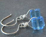 SALE - Crystal Cornflower Blue Faceted Glass Cube Black Oxidized Earrings