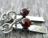 Rustic Antiqued Sterling Silver Rectangle and Dark Red Garnet Earrings