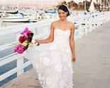 Strapless Draped Taffeta Wedding Gown with Floral Detail
