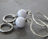 Blue Lace Agate Antiqued Sterling Silver Ring Earrings