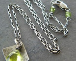 Peridot Green Glass Faceted Teardrop - Antiqued Sterling Silver Square Necklace