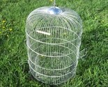 Vintage Bird Cage , Wedding Card Holder or Garden Decor, Silver Domed Cage