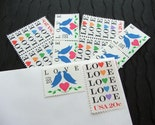 Love Birds Blue .. UNused Vintage Postage Stamps  .. post 25 letters