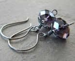 SALE - Grape Purple Faceted Crystal Rondelle Dark Oxidized Sterling Silver Earrings