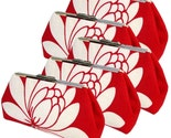 FIVE BRIDESMAIDS CLUTCHES - Red Glazed Linen - PURE SILK LININGS