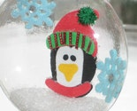 Squashed Snow Globe Glass Tree Ornament - Penguin and Snowflakes  SALE BOGO 1/2 off