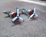 Airplane Propeller in Red Cuff Links