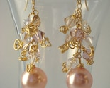 Pink Pearl on Gold Fill Cluster Earrings