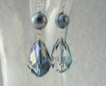Perfect Pair Pear Swarovski Crystal and Blue Freshwater Pearl Earrings