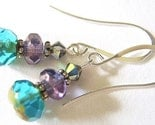 Johari Handcrafted Czech Glass Earrings - Purple and Blue
