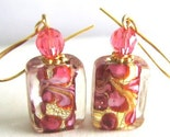 Lora Pink Lamp Work Glass Earrings