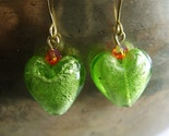 Vidrio Silver Foil Murano Style Glass Puffy Green Heart Earrings