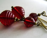 Anabelle Vintage Swarovski Crystal Garnet Red Dangle Earrings
