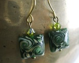 Green Swirled Lamp Work Glass Earrings